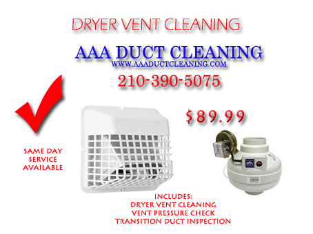 Having your dryer vent cleaning done by professional who is certified and knowledgeable of building codes is very important San Antonio so choose the right company call AAA Duct Cleaning for all of your dryer vent cleaning needs 21-390-5075. are driving cleaning services San Antonio provides the homeowner a six month warranty and comes with an inspection and pressure check on all dryer vent exhaust systems.